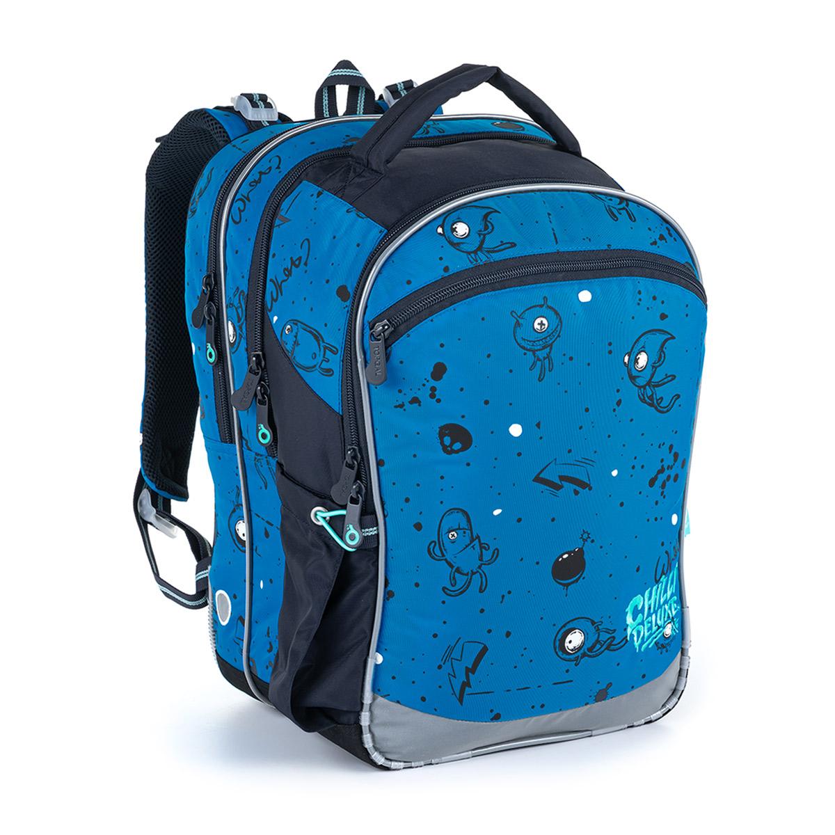 Modrá trojkomorá taška s príšerkami pre prvý stupeň ZŠ Topgal COCO 21017 B